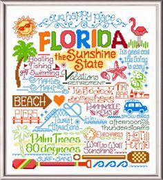 Cross stitch 'Words' pattern: Let's Visit Florida, designed by Ursula Michael.