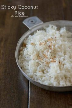Sweet and Sticky Coconut Rice that's perfect with any meal! ohsweetbasil.com