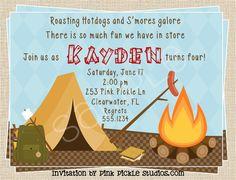 Camping invite idea from etsy