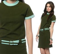 1ef4bb76148 Mod Mini Dress Belted Olive Green Light Blue Scooter Drop Waist Shift  Vintage Short Sleeve Gogo Minidress Extra Small XS S