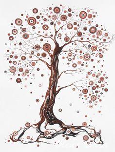 """Tree painting. 18""""x24"""". Mixed media. House decor. Wall art."""