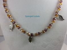Amber and Amethyst Crystals With Silver Accent Beaded Necklace with Falling Silver Leaves and Acorn Charms. by SpangleCrystals on Etsy