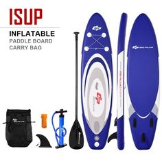 Inflatable Surfboard SUP with Adjustable Paddle Fin Color: Blue white Material: EVA PP paddle Net weight: 18 lbs Weight capacity: 265 lbs Overall dimension: x 30 x 6 Paddle adjustable: 67 - 83 Inflatable Paddle Board, Inflatable Sup, Sup Accessories, Standup Paddle Board, Front Deck, Shoulder Sling, Sup Surf, Duffle Bag Travel, Paddle Boarding