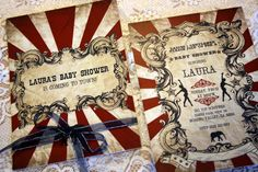 Vintage Carnival Baby Shower  Invitation (Gorgeous Circus Invite Printable) Red, Blue and White. $24.50, via Etsy.