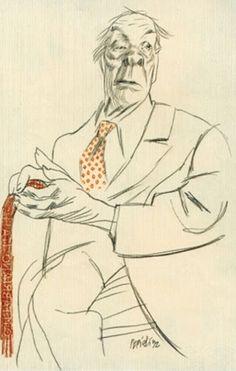 Borges todo el año: Jorge Luis Borges: Nydia Lamarque, «Telarañas» (1925) - Retrato de Jorge Luis Borges por Tulio Pericoli