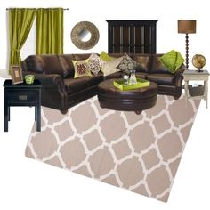 """Green and brown living room"" Not the colors I would usually choose for my living room, but I kinda like it! Living Room Red, Living Room Colors, Home And Living, Living Room Decor, Brown And Green Living Room, Family Room Decorating, Interior Decorating, Interior Design, Living Room Inspiration"