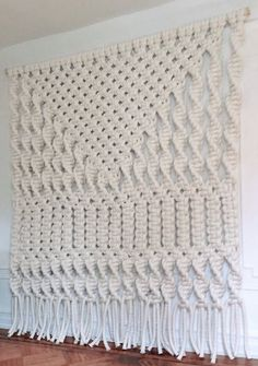 Macrame art extra large white modern geometric fiber bohemian wall hanging feels warm and craft video Macrame Wall Hanger, Macrame Wall Hanging Patterns, Macrame Curtain, Large Macrame Wall Hanging, Macrame Patterns, Macrame Wall Hangings, Macrame Owl, Macrame Knots, Macrame Design