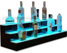 Our 3 tier led liquor shelves are perfect for bars large and small. Whether it's for your restaurant, nightclub or home bar, our bottle displays are sure to make an impact and keep your highest margin liquor out of the dark! Bar Shelves, Display Shelves, Liquor Shelves, Glass Shelves, Shelving, Display Case, Bar Displays, Display Stands, Back Bar