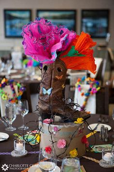 Cowgirl boot centerpiece for western theme party