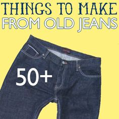 50+ things to make from old jeans - love the bulletin board & some of the wreaths!