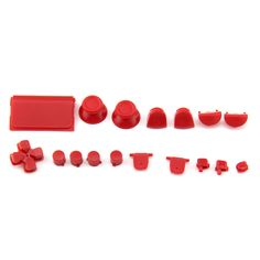 Glossy Full Button Sets Mod Kits for PS4 Controller 3.0(Red)