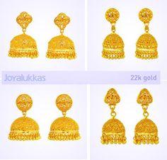 JoyAlukkas light weight jumka in gold - Latest Jewellery Designs Indian Jewellery Design, Latest Jewellery, Jewelry Design, Jhumki Earrings, Gold Earrings, Gold Buttalu, 24k Gold Jewelry, Diamond Jewelry, India Jewelry