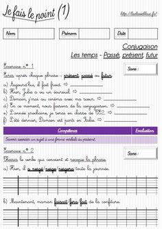 Les évaluations (CE1/Conjugaison) des fiches d'exercices très bien faites pour revoir la conjugaison