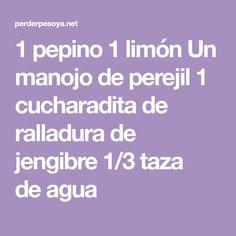 1pepino 1limón Un manojo deperejil 1 cucharadita de ralladurade jengibre 1/3 taza deagua