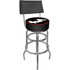 A Series Black Shadow Babes Padded Swivel Bar Stool with Back, Silver Metallic