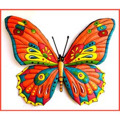 Butterfly Wall Hanging - Painted Metal Tropical Decor - Metal Wall Art... ❤…
