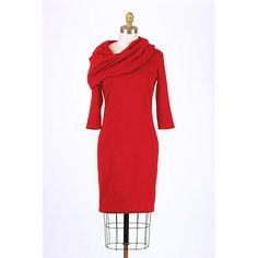Brilliant Red Cowl Neck Dress