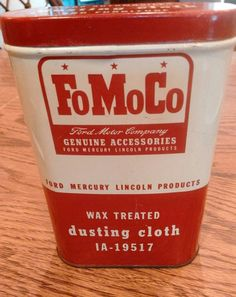 RARE COLLECTABLE VINTAGE FORD FOMOCO DUSTING CLOTH TIN CAN MOTOR OIL RELATED | Collectibles, Advertising, Automobiles | eBay!