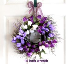 Small Purple Tulip Spring Wreath for front door, Easter wreath, Easter Decoration, Spring Wreath, Wedding Wreath, wreathe, Mother's Day by Leopard on Etsy https://www.etsy.com/listing/268861967/small-purple-tulip-spring-wreath-for