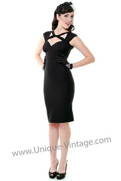 1940's Style STOP STARING Black Strappy Neckline Wiggle - Unique Vintage - Pinup, Holiday & Prom Dresses.