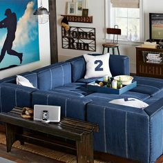 "Cushy Lounge Collection | PBteen - 2 corner cushions on wood base to create 62"" sofa + ottoman for boys' room"