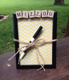 MIZZOU, Dry Erase Board, Message Board, Scrabble Decor, Chevron, Gift for College students, roommate gift, dorm, Graduation Gift - pinned by pin4etsy.com