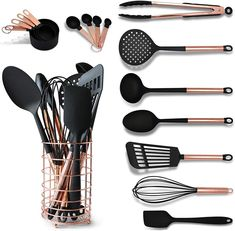 # copper kitchen accessories Black and Copper Cooking Utensils with Stainless Steel Copper Utensil Holder - Set Includes Black and Copper Measuring Spoons, Black and Copper Measuring Cups Black And Copper Kitchen, Copper Kitchen Decor, Black Kitchen Decor, Country Kitchen, Rose Gold Kitchen Accessories, Copper Cups, Copper Cookware Set, Copper Utensils, Vintage Kitchen