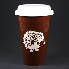 We're all a little spiny before our morning coffee, right? This cute, spiny hedgie will keep you company. This reusable travel coffee mug comes in black or java brown. The double-walled ceramic keeps
