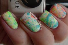 Splatter mani featuring Cirque Colors VITAMIN D, C.R.E.A.M., and MIAMI-DADE