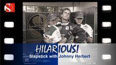 slapstick with Johnny Herbert (from - Sauber Team. Looks like it was filmed at Ferraris test track @ Fiorano. Johnny Herbert, Video Team, Hilarious, Funny, Formula One, F1, Track, Baseball Cards, Videos
