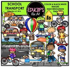 This is a collection of images connected with getting to and from school. The images in this set include children on/in car, scooter, skateboard, bicycle, helicopter, school bus, after school mini van and even a hot air balloon! Also included is a road/sidewalk scene, separate sidewalk, walk to school sign, and school signs.
