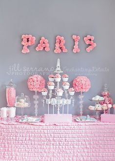 decorations on a table or something like this (could include the pom-poms) just not paris theme?