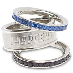 San Diego Chargers Team Logo Crystal Stacked Ring Set