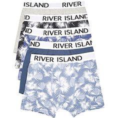 Blue leaf print trunks pack - trunks - underwear - men
