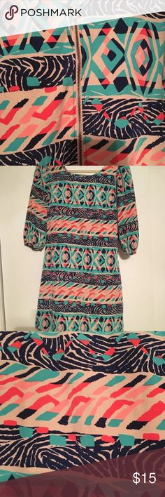 Fun back zip up dress Fun back Zip up dress with nautical design for any occasion. Size small Dresses Mini
