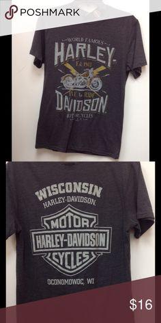 Men's Harley Davidson Shirt Basic fit tee, charcoal, men's Sz Small. Harley-Davidson Shirts Tees - Short Sleeve