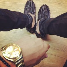 Studded Loafers<3 Louboutin Loafers, Studded Loafers, Driving Moccasins, Fashion Bible, Mens Slippers, Rocker Style, Roller Derby, Spikes, Gold Watch