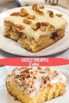 Easy Pineapple Cake, Pineapple Dessert Recipes, Best Dessert Recipes, Desert Recipes, Easy Desserts, Delicious Desserts, Cake Recipes, Easiest Pineapple Cake Recipe, Oreo Desserts