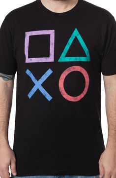 This Playstation shirt features the shapes that appeared on the game console's four controller buttons. In Sony's Playstation redefined the gaming experience with the simple taps of the controll Camisa Nerd, Console Style, Visual Kei, Gamer Shirt, Gamer Gifts, Look Cool, Consoles, Cool Shirts, Men's T Shirts