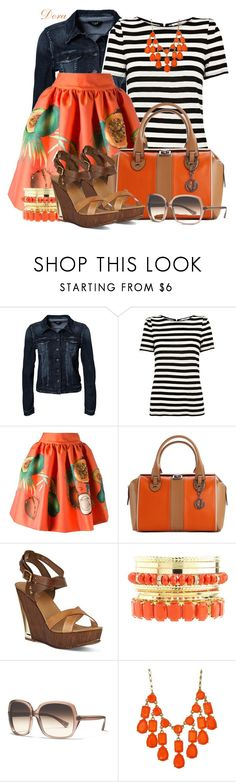 """""""Stripes&tropical printed skirt"""" by doradabrowska ❤ liked on Polyvore featuring VILA, Oasis, Stella Jean, Charles Jourdan, Carvela, Charlotte Russe, Coach and Kate Spade"""