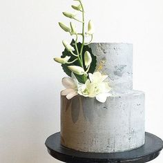 Love this concrete look from Don't Tell Charles 15 Chic Concrete Wedding Cakes // see them all. Cool Wedding Cakes, Beautiful Wedding Cakes, Wedding Cake Designs, Wedding Cake Toppers, Beautiful Cakes, Concrete Cake, Modern Cakes, Chiffon Cake, Wedding Cake Inspiration