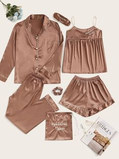 Check out this Letter Embroidered Satin Pajama Set on Shein and explore more to meet your fashion needs! Cute Pajama Sets, Cute Pajamas, Satin Pyjama Set, Satin Pajamas, Pyjamas, Cute Sleepwear, Sleepwear Women, Sleepwear Sets, Pijamas Women