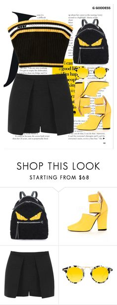 """black and yellow"" by johanna-dn on Polyvore featuring Fendi, Topshop and Krewe"