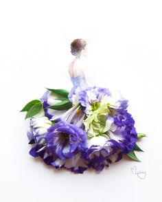 purple dress made of flowers