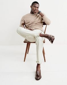 J.Crew men's lightweight Italian cashmere crewneck sweater, 770 jean in rinsed wheat, Timex® for J.Crew Andros watch and Ludlow tassel loafers.