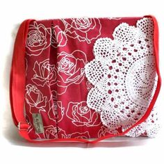 #etsyfollow #messenger bag #doily  #crochet doily # doily bag #red and white #roses #shabby chic bag #shabby chic #waterproof bag @pritikokate $38