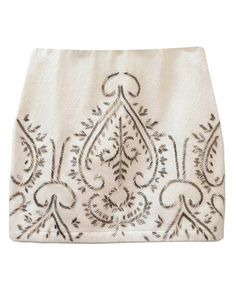 Ivory Paisley Embroidered Miniskirt