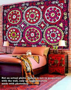 VERY Beautiful black yellow red pink suzani authentic by SilkWay