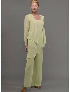 Sexy Pale Green Chiffon Mother Of The Bride Pant Suits