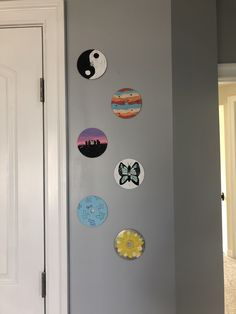 I finally finished painting these cds Cd Wall Art, Record Wall Art, Cd Art, Wall Collage, Cute Canvas Paintings, Small Canvas Art, Mini Canvas Art, Diy Canvas, Aesthetic Room Decor